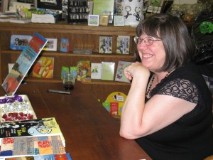 Kaye George at a signing for her first book, CHOKE, an Immy Duckworthy mystery