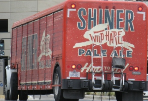 Shiner Beer truck parked at Valero gas station and convenience store, February 4, 2014
