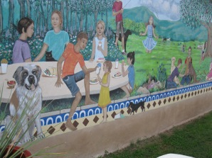 Mural outside Los Jalapenos, Alpine, TX. By Kathy Waller.