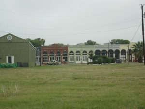Hutto Main Street seen across a grassy area