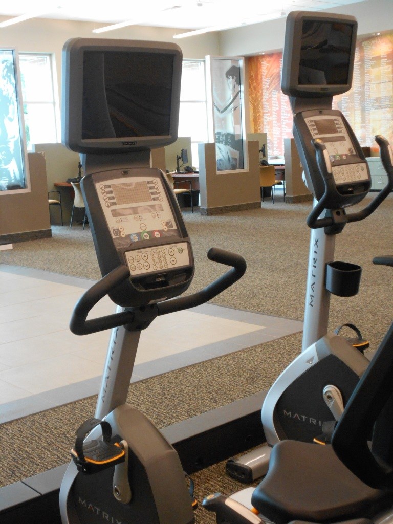recumbent bike trainers with TV monitors on top