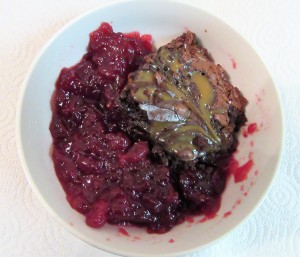 Turtle brownie and cranberry sauce.