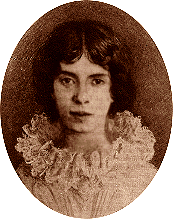 Fabricated portrait of Emily Dickinson (1830-1886), the American poet. It is an altered version of the only authenticated portrait of Dickinson made after childhood, with added frilled collar and changed hair to make her appear more feminine. Public domain.